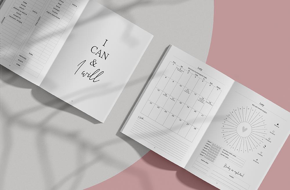 planer wygodnie podsumowane wydatki, skrócony harmonogram oraz cykl menstruacyjny.